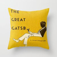 the great gatsby Throw Pillows featuring The Great Gatsby by MW. [by Mathius Wilder]