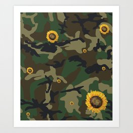 sunflower camo Art Print