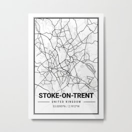 Stoke - On - Trent Light City Map Metal Print