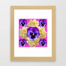 PURPLE PANSY FLOWERS & IVORY ROSES  PINK ART Framed Art Print