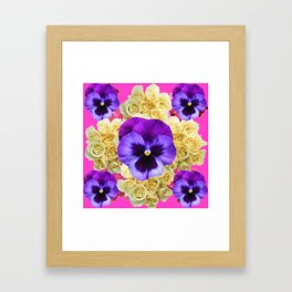 PURPLE PANSY FLOWERS & IVORY ROSES  PINK ART Framed Art Print