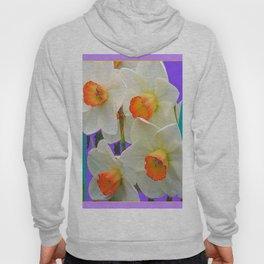 WHITE-GOLD NARCISSUS FLOWERS LAVENDER GARDEN Hoody