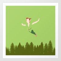peter pan Art Prints featuring PETER PAN by kattie flynn