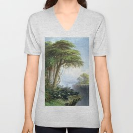 Victoria Falls, Zambia and Zimbabwe with Buffalo by Thomas Baines Unisex V-Neck