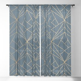 Benjamin Moore Hidden Sapphire Gold Geometric Pattern With White Shimmer Sheer Curtain