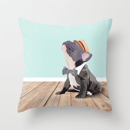 French Bulldog Singing His Heart Out, Barbershop Style Throw Pillow