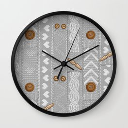 Scarves Knitted Buttoned - Gray Wall Clock