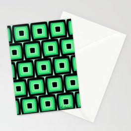 Mod Green Squares Stationery Cards