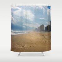 virginia Shower Curtains featuring Virginia Beach by Lisa Marie