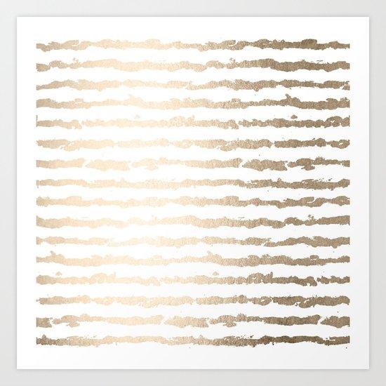 White Gold Sands Ink Stripes Art Print