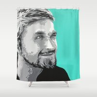 ryan gosling Shower Curtains featuring Ryan Gosling by megan matthews