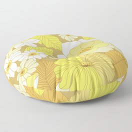 Yellow, Ivory & Brown Retro Flowers Floor Pillow