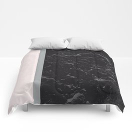 Grey Black Marble Meets Romantic Pink #2 #decor #art #society6 Comforters