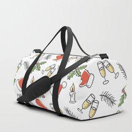 White Christmas Santa and Champagne Pattern Duffle Bag