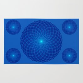 Blue and round Graphic Rug