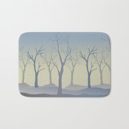 Silhouettes of Trees. Bad Weather Day Bath Mat