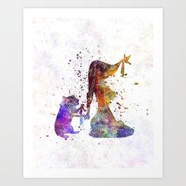 Pocahontas watercolor art Art Print