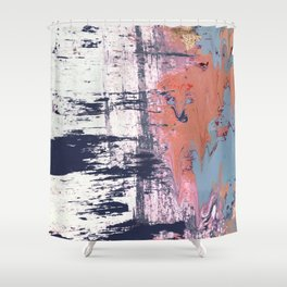 Leap of Faith: colorful abstract piece in blues, pinks, and gold Shower Curtain
