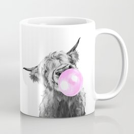 Bubble Gum Highland Cow Black and White Coffee Mug