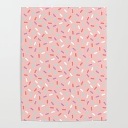 Pink Sprinkle Confetti Pattern Poster