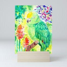 Sleepy Parrot    Watercolor Painting Mini Art Print