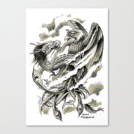 Dragon Phoenix Tattoo Art Print Canvas Print