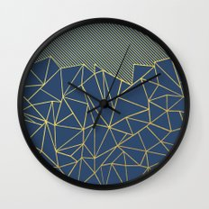 Ab Lines 45 Navy and Gold Wall Clock
