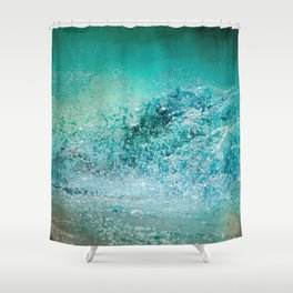 Turquoise Wave - Blue Water Scene Shower Curtain
