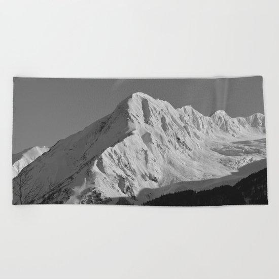 Portage Valley Mountain Glacier - B & W Beach Towel