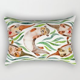 Five Otters – Green Seaweed Rectangular Pillow