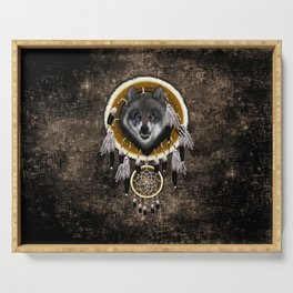 Indian Native Gray Wolf Dreamcatchers Serving Tray