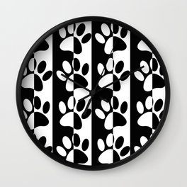 Black And White Dog Paws And Stripes Wall Clock