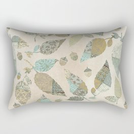 Nostalgic Patchwork Autumn Leaf Pattern Teal Beige Rectangular Pillow