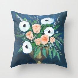 blush and white bouquet Throw Pillow