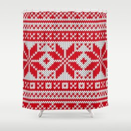 Winter knitted pattern 6 Shower Curtain