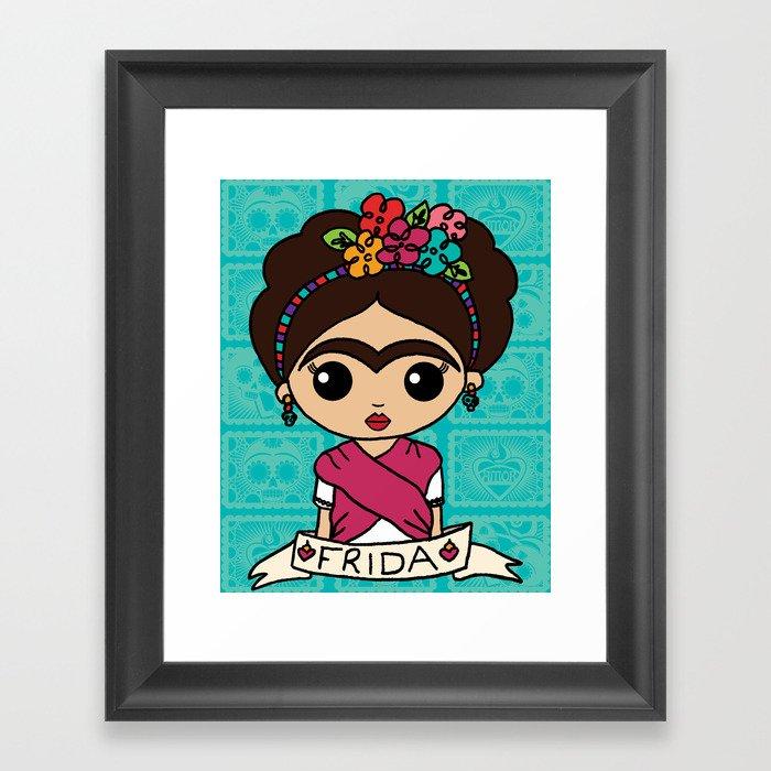 Frida with Flowers Gerahmter Kunstdruck