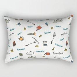 Adventure Pattern | Camping Pattern | Hiking Pattern | Hand Drawn Outdoors Pattern Rectangular Pillow