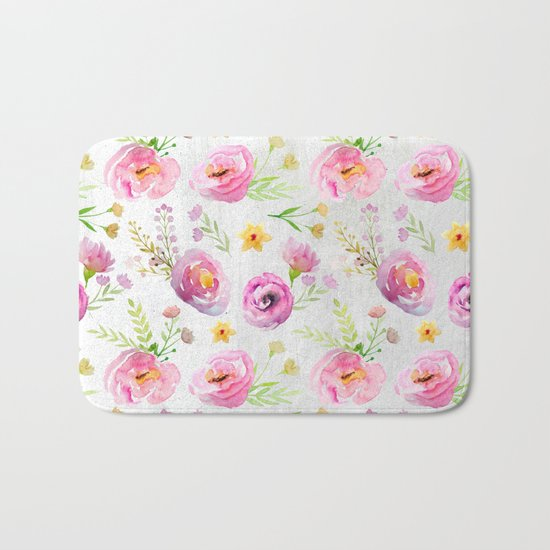Delicate Poppy Pattern On White Background Bath Mat