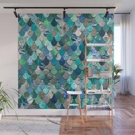 Mermaid Pattern, Sea,Teal, Mint, Aqua, Blue Wall Mural