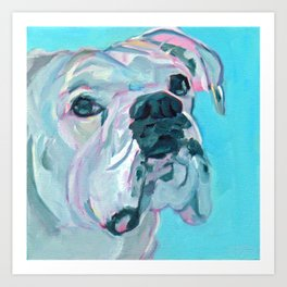 Bella the White Boxer Girl Art Print