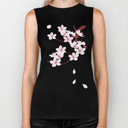 Sakura on red background Biker Tank