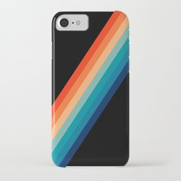 Retro 70s Stripe Colorful Rainbow Black iPhone Case