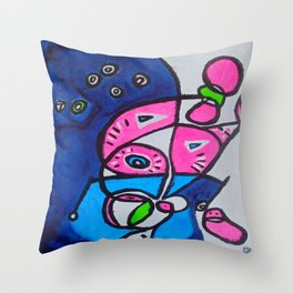 Tripping-Out Kitty Throw Pillow