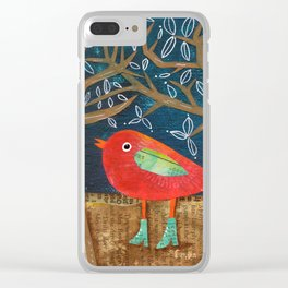 Red Bird in Galoshes Clear iPhone Case