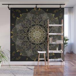 Bohemian Gold Brushed Mandala design Wall Mural