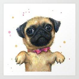 Cute Pug Puppy Dog Watercolor Painting Art Print