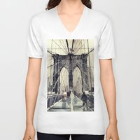 bridge V-neck T-shirts featuring Brooklyn Bridge by takmaj