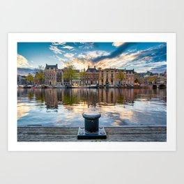 Charming sunset view of Amsterdam  Art Print