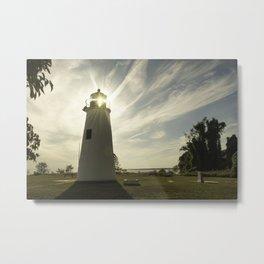 Turkey Point Lighthouse with Sun Flare Horizontal Coastal Landscape Photo Metal Print