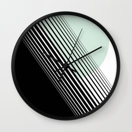 Rising Sun Minimal Japanese Abstract White Black Mint Green Wall Clock